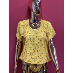 Yellow printed blouse  sizes 10-22