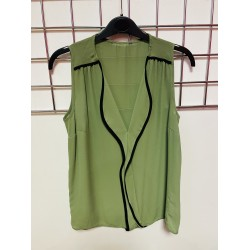 Green Sleeveless top with black piping sizes 8-18