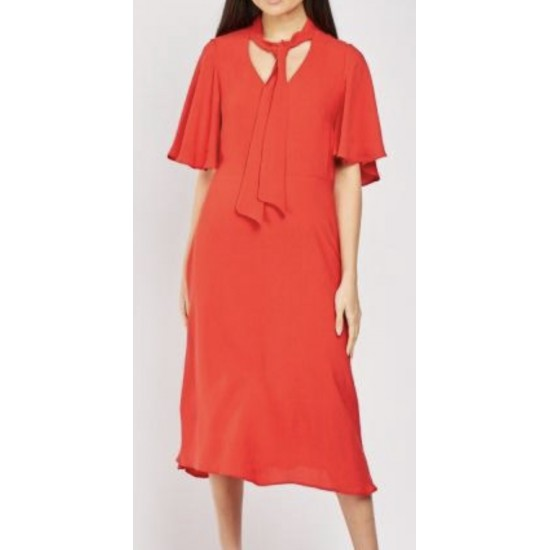 Red maxi dress with tie on on neck sizes 6-20